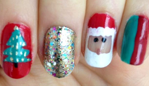 Santa Christmas Tree Nails