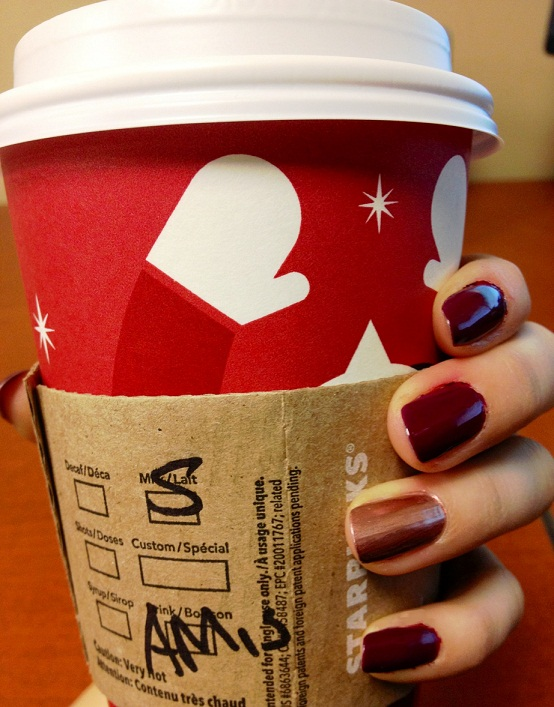 OPI Casino Royale nails with a hint of essie Penny Talk - and my morning coffee!