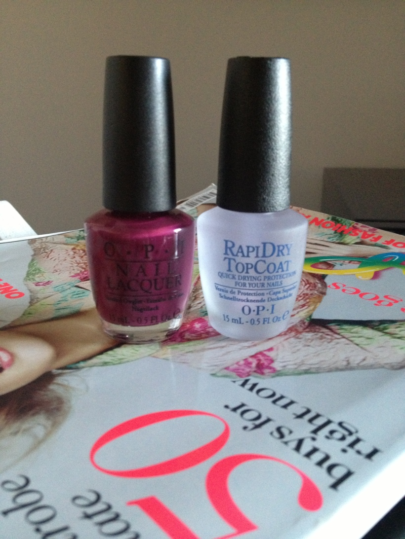 Sunday nail party with two of my best friends - OPI Casino Royale and OPI RapiDry