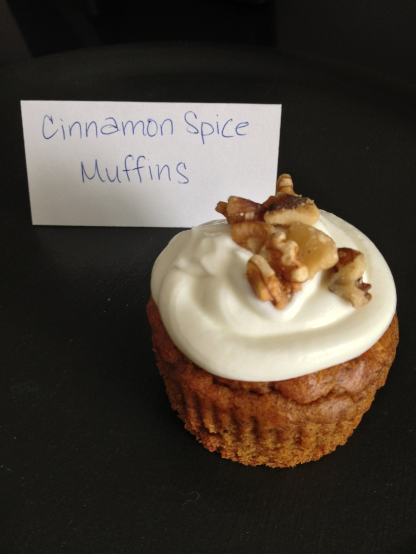 Cinnamon Spice Muffins topped with Greek Yogurt Icing and Walnut Crumbs