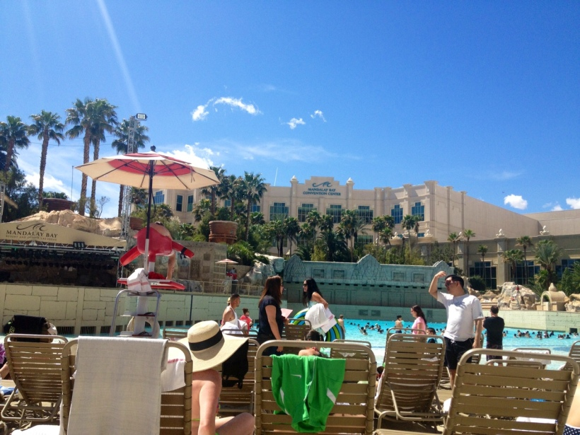 Our hotel, the Mandalay Bay, had a man made beach and wave pool - not a bad way to cure our hangovers.