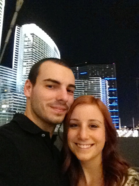 Wandering the Strip at night - behind us is the Cosmopolitan Hotel