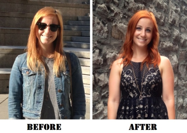 Fading that occurs between salon visits. First picture is pre-salon, second is after a fresh colour.