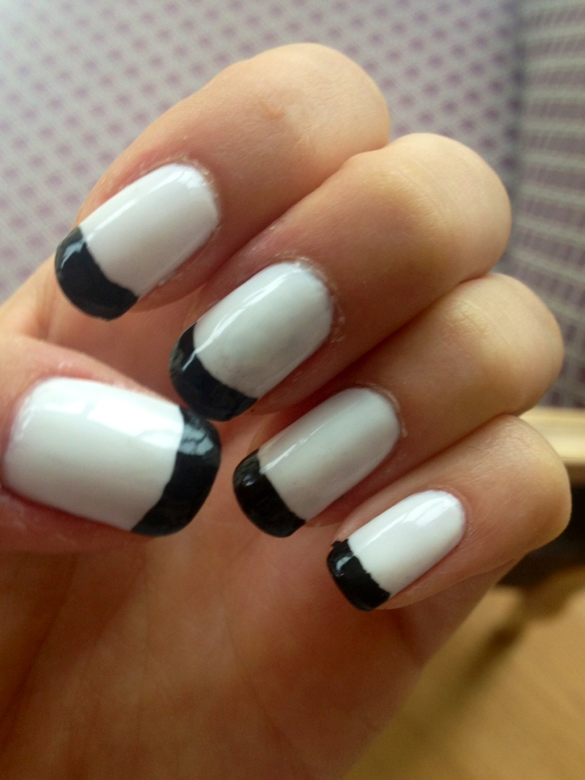 black and white manicure